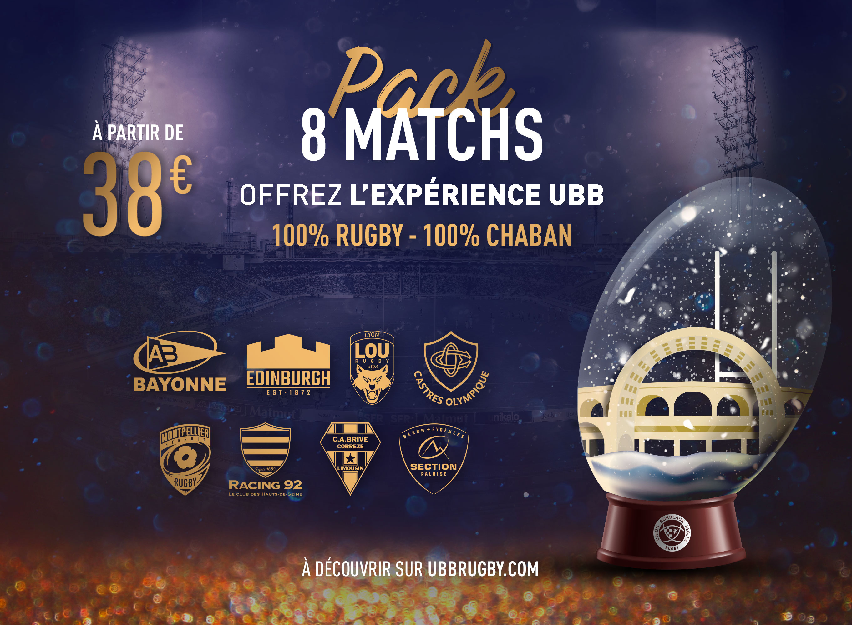 Pack 8 matchs Chaban UBB