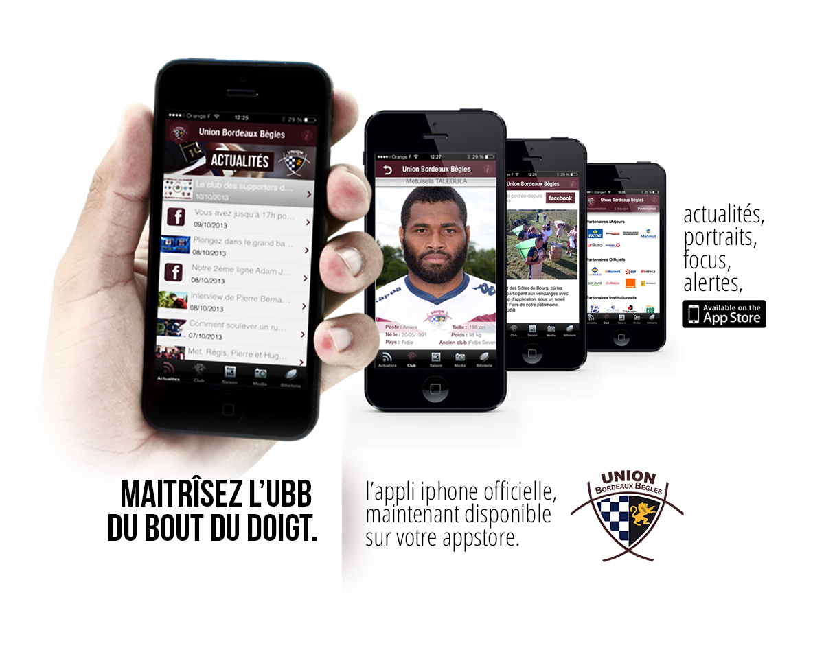 Appli iphone UBB Top14 rugby