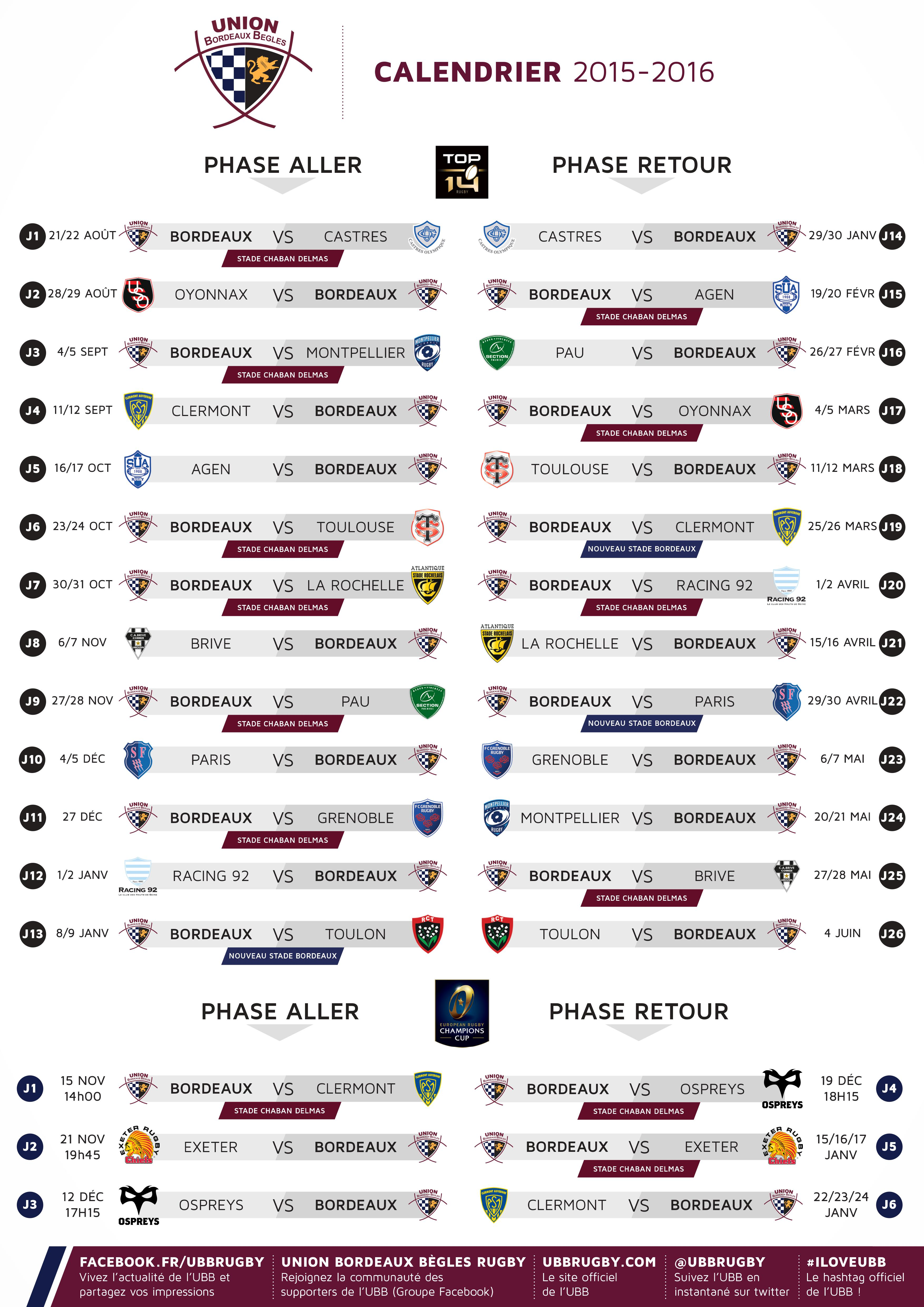 le calendrier de la champions cup 2015 2016 d voil actualit s union bordeaux b gles. Black Bedroom Furniture Sets. Home Design Ideas