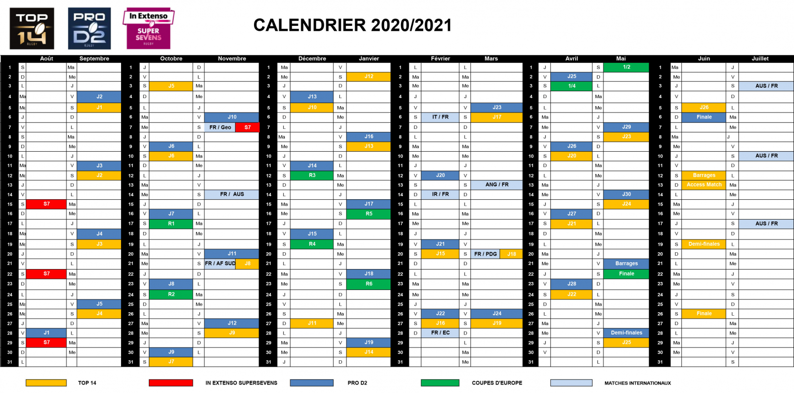 La calendrier de la saison 2020 2021 dévoilé   Toutes les actus